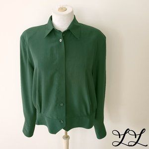 Vintage Blouse Green 1980s Button Down Work Dressy